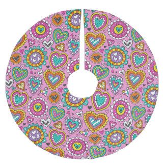 Hearts&Flowers Brushed Polyester Tree Skirt