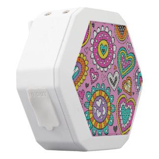 Hearts&Flowers White Bluetooth Speaker
