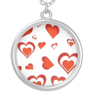 Hearts for Valentine - Round Pendant Necklace