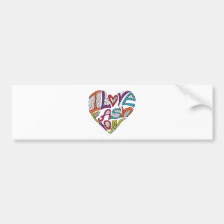 "Hearts from words ""I love fashion"" Bumper Sticker"