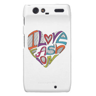 """Hearts from words """"I love fashion"""" Droid RAZR Covers"""