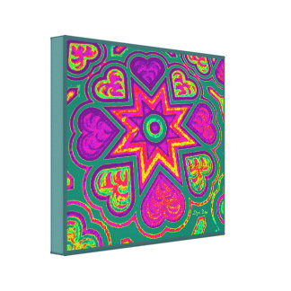 Hearts Full of Love Panel Print Brights Green Stretched Canvas Print