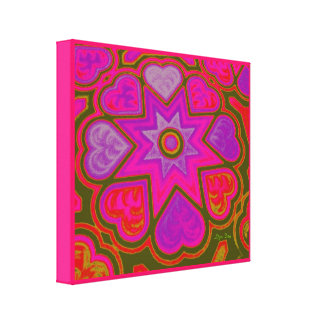 'Hearts Full of Love' Panel Print (Brights) (Pink) Stretched Canvas Print