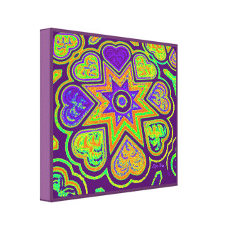 Hearts Full of Love Panel Print Brights Prple Stretched Canvas Print
