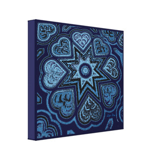 'Hearts Full of Love' Panel Prnt (Rustics) (Blue) Stretched Canvas Print