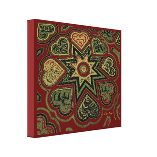 'Hearts Full of Love' Panel (Rustics) (Burgundy) Stretched Canvas Prints