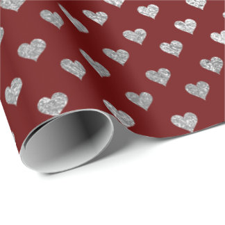 Hearts Glam Silver Burgundy Maroon Wrapping Paper