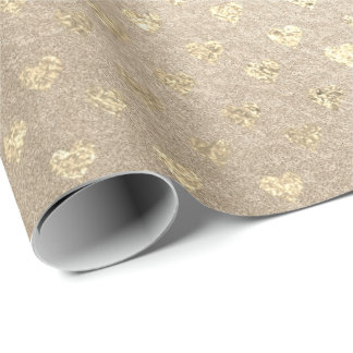Hearts Gold Foxier Pearly Titanium Ivory Glitter Wrapping Paper