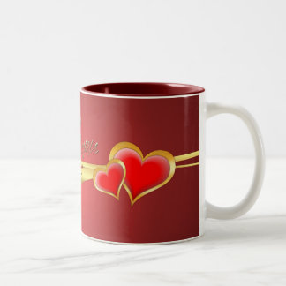 HEARTS & GOLD RIBBON by SHARON SHARPE Mug