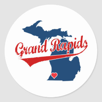Hearts Grand Rapids Michigan Classic Round Sticker