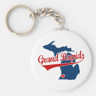 Hearts Grand Rapids Michigan Key Ring