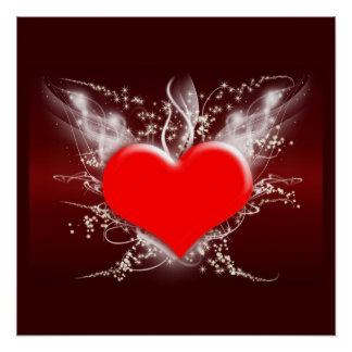 Hearts Heart Peace Love Destiny Wedding Shower Perfect Poster