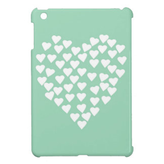 Hearts Heart White on Mint iPad Mini Cases