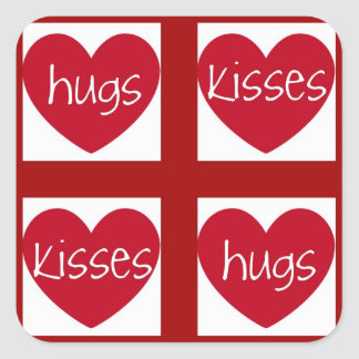 Hearts, Hugs and Kisses Square Sticker