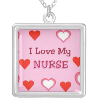 Hearts: I Love My Nurse Silver Plated Necklace