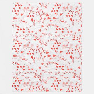Hearts In A Layered Poker Cards Pattern, Fleece Blanket