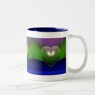 """""""Hearts In A Row"""" coffee cup by Zoltan Buday Two-Tone Mug"""