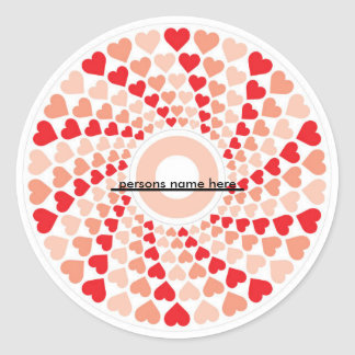 hearts in a spin, ________, persons name here round sticker