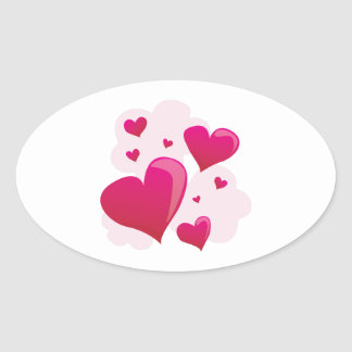 Hearts In Clouds Oval Sticker