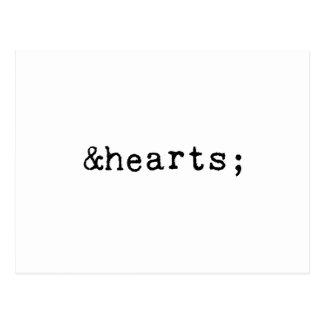 Hearts in HTML Postcard
