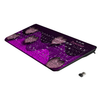 Hearts in purple and pink wireless keyboard