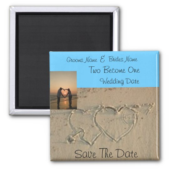 Hearts in Sand Romantic photo save the date magnet