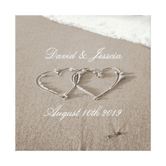 Hearts in the sand beach photography canvas print