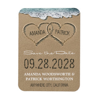 Hearts in the Sand Beach Save the Date Magnets
