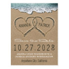 Hearts in the Sand Beach Shore Save The Date Cards
