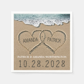 Hearts in the Sand Beach Shore Wedding Napkins Disposable Napkins