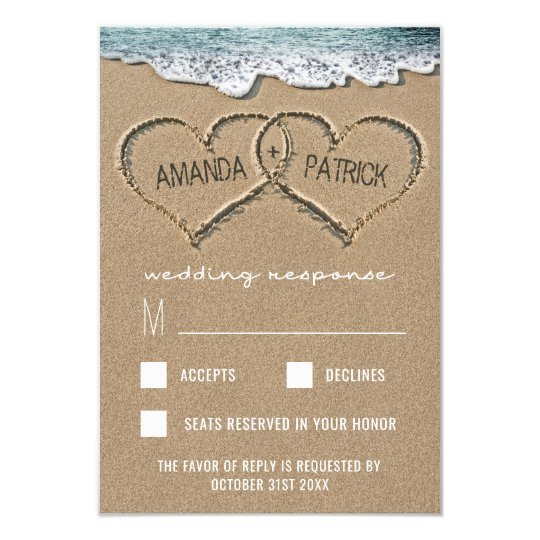 Hearts in the Sand Beach Shore Wedding RSVP