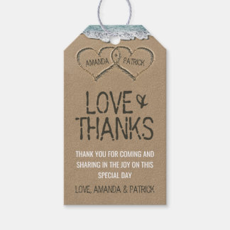 Hearts in the Sand Beach Shore Wedding Thank You Gift Tags