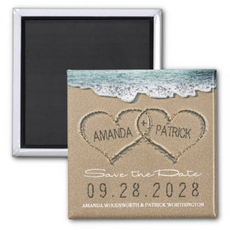 Hearts in the Sand Beach Wedding Save the Date Square Magnet