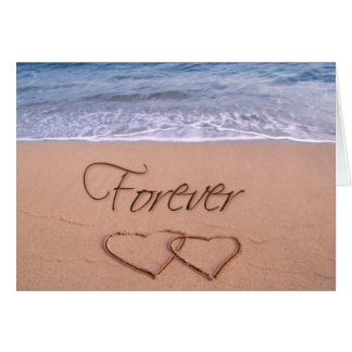 Hearts in the sand forever greeting card