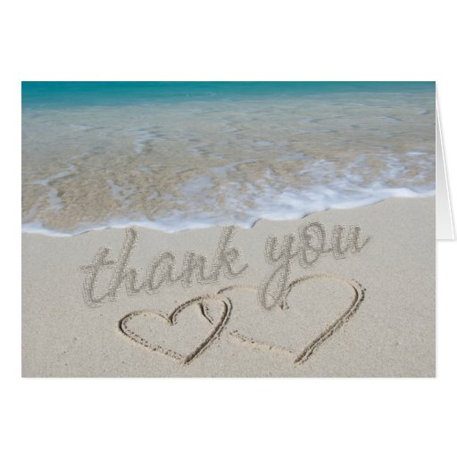 """Hearts in the Sand """"Thank You"""" Cards"""