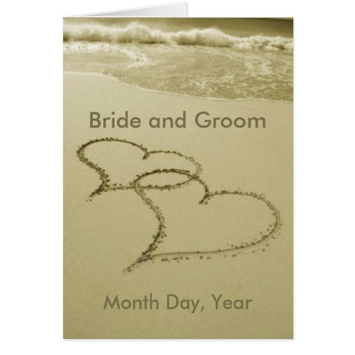 Hearts In The Sand Wedding Announcement Card