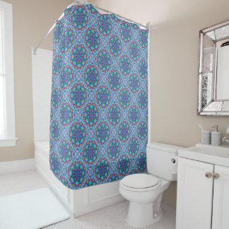 Hearts Kaleidoscope Vintage   Blue Shower Curtain