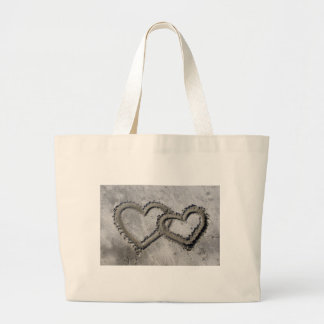 Hearts Linked in the Sand Jumbo Tote Bag
