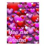 Hearts Love and Diamonds invitation card 11 Cm X 14 Cm Invitation Card