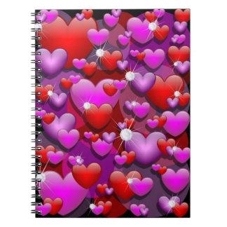 Hearts Love and Diamonds Note Book