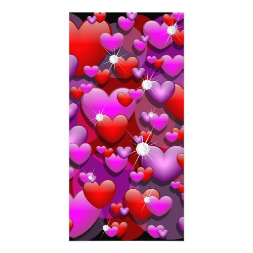 Hearts Love and Diamonds Photo Greeting Card