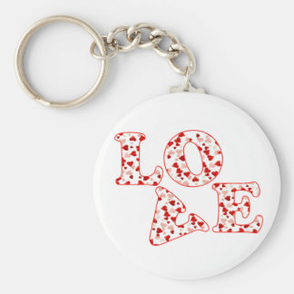 HEARTS LOVE by SHARON SHARPE Basic Round Button Key Ring