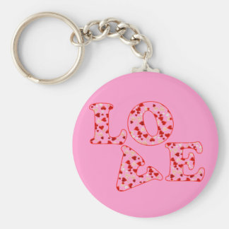 HEARTS LOVE by SHARON SHARPE Basic Round Button Key Ring