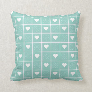 Hearts Love Checker Pattern with Arrows Teal Cushion