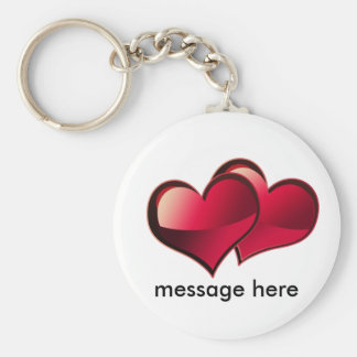 Hearts Love Theme Basic Round Button Key Ring