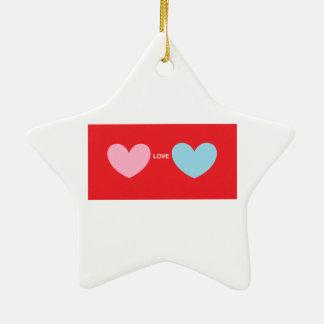 Hearts Love You Ceramic Star Decoration