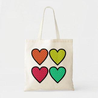 Hearts - Multi Colors Canvas Bag