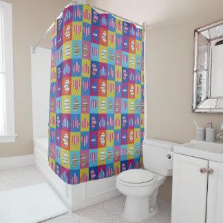 Hearts Multicolor Striped Shower Curtain