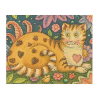 Hearts N' Stripes Tabby Cat Folk Art Wood Print