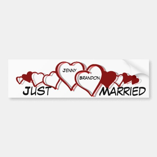Hearts Newly Wed bumper sticker